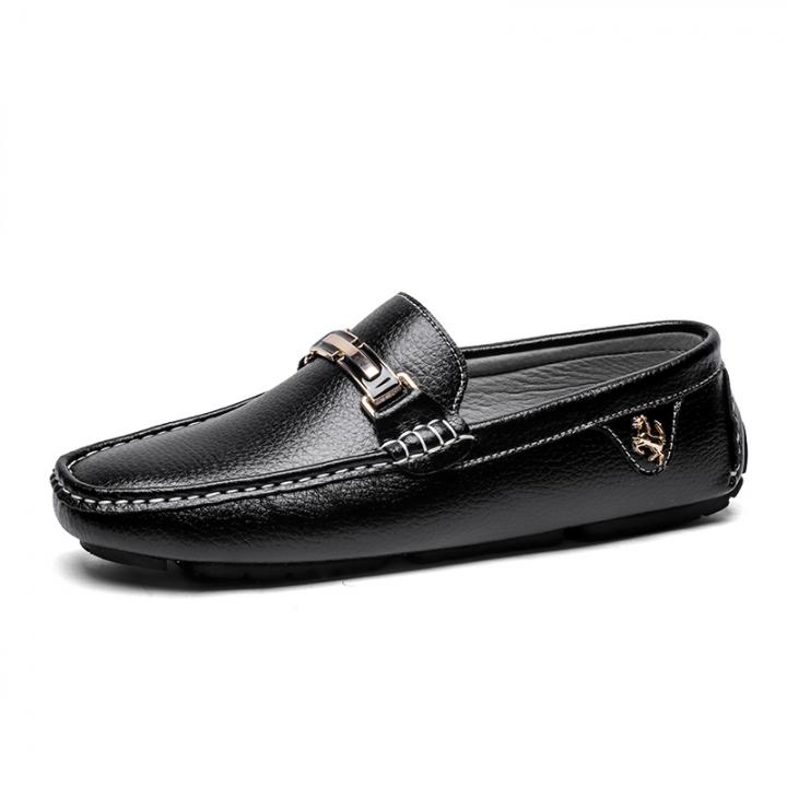 Men Flat Shoes Quality Split Leather Men Loafers Solid Black Breathable Slip-On Driving Shoes black 40