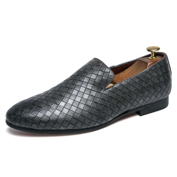 Men Dress Loafers Gentleman Fashion Party Men Casual Formal Shoes  Plaid Pattern Cool Slip On grey 43 pu leather