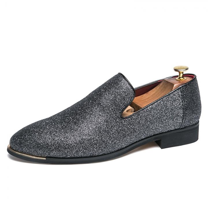 Vintage Men Dress Loafers Gentleman Fashion Party Men Casual Formal Shoes Smoking Slipper silver 38