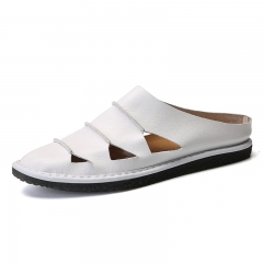 Handsome Summer Outdoor Men Open-toe Leather Sandal High Quality Beach Shoes white 39