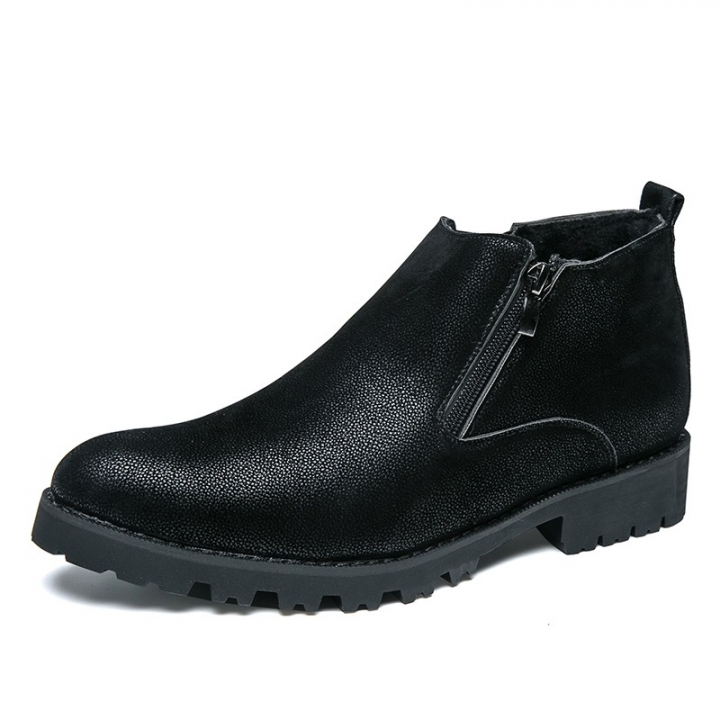 High Quality Winter Men Chelsea Boots Zip Autumn Shoes Casual High Top Warm Leather Gentleman black 39