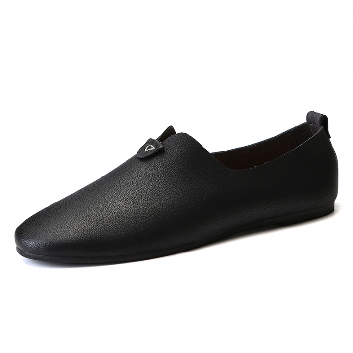 Simple Style Men's Shoes Loafers Leather Casual Shoes Breathable Designer Soft Slip On Lighweight black 39