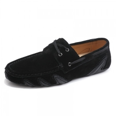 Cow Suede Men Shoes Casual New High Quality Man Loafers Moccasin Driving Shoes black 39