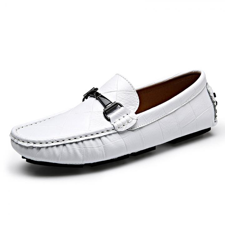 Crocodile Slip On Plaid Business Wedding Leather Oxford Shoes For Men Dress Shoes Horsebit Loafer white 45