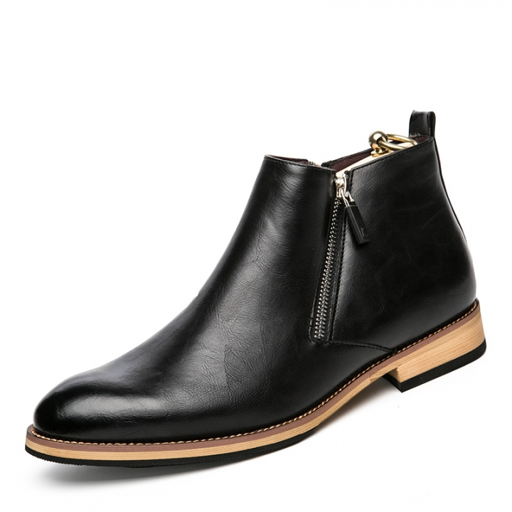 Winter Men Chelsea Boots Autumn Shoes Casual High Top Warm Leather Footwear High Quality Zipper black 39