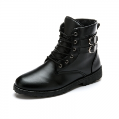 Autumn Winter Men Boots Vintage Style Casual Men Shoes High-Cut Lace-Up Warm Motorcycle Boots black 40