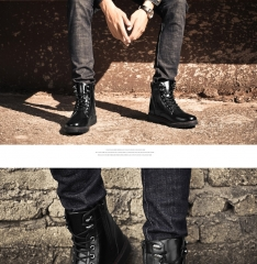 Winter Men Boots Vintage Casual Men Shoes High Tops Lace-Up Warm Motorcycle Boots black 39