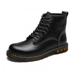 Winter Men Boots Vintage Casual Men Shoes High Tops Lace-Up Warm Motorcycle Boots Cool black 39