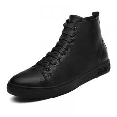 Big Size 38~48 Winter Men Boots Vintage Dark Men Shoes High Tops Lace-Up Warm Motorcycle Boots black 39
