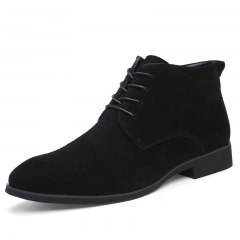 Winter Men Boots Vintage Casual Men Shoes High Tops Lace-Up Warm Desert Boots Good Quality black 39