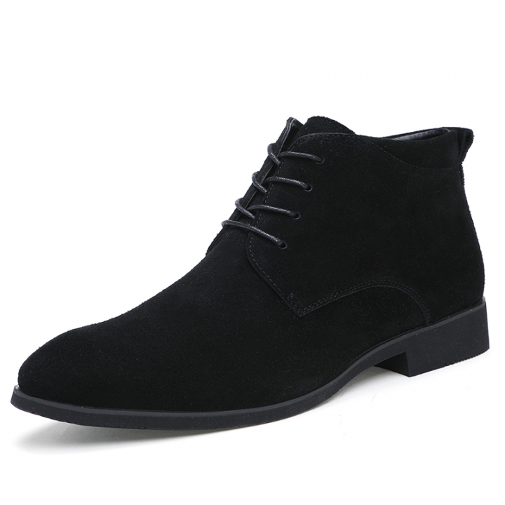 Winter Men Boots Vintage Casual Men Shoes High Tops Lace-Up Warm Desert Boots Good Quality black 41
