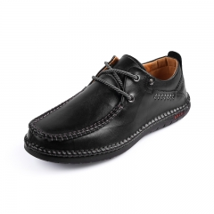 High Quality Men's Sneaker Handmade Stitching Genuine Cow Leather black 39