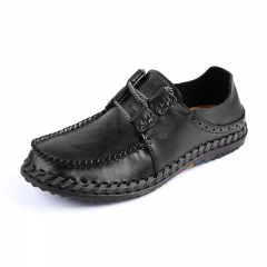 Winter Autumn Men's Driving Shoes Handmade Stitching Cow Leather Causal black 39