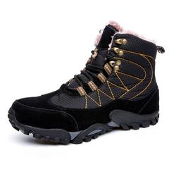 Plus Size 38~48 Winter Keep Warm Men Snow Boots Genuine Leather black 39