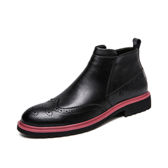 English Style Real Leather Winter Men Boots Retro Handsome Riding black 38 genuine leather