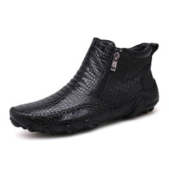 Winter Men Boots Vintage English Style Real Leather Crocodile black 39