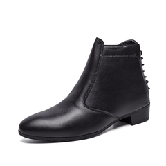 Delicate New Winter Men Boots Zipper Shoes Vintage English Style Cool black 39