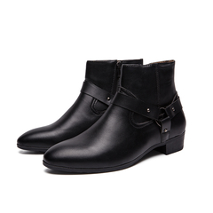 New Winter Men Riding Boots Buckle Shoes Vintage English Style Cool black 39