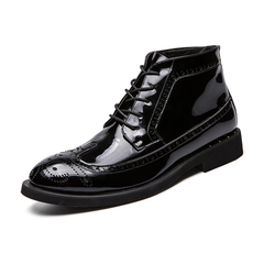 Luxury Comfy Men Boots Vintage English Style Carved Cool Shining Patent Leather black 39