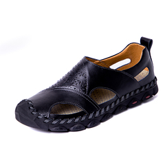 Cool Summer Men's Cow Leather Outdoor Sandals Shoes Breathable Cap Toe Design black 38