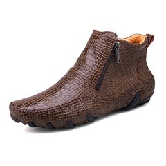 Big Size 38~47 Winter Men Boots Vintage English Style Real Leather Crocodile brown 39