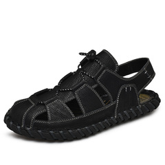 Genuine Cow Leather New Cool Breathable Summer Men Sandal Outdoor black 38