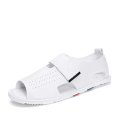 New Summer Mens Leather Sandals Outdoor Beach Shoe Breathable Buckle white 39