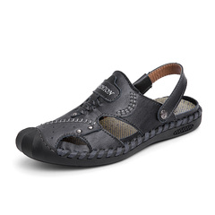 Cool Summer Men's Split Leather Breathable Outdoor Sandals Shoes black 38