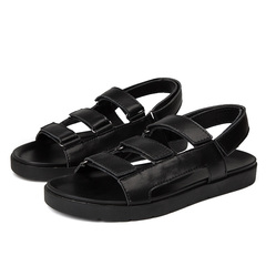 Summer Gladiator Men's Leather Sandals Black Outdoor Beach Shoe Breathable black 39