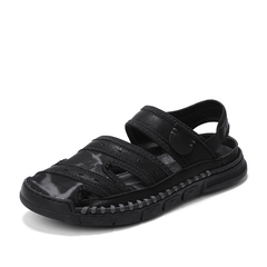 Gladiator Men's Leather Sandals Outdoor Beach Shoe Breathable Waterproof black 39