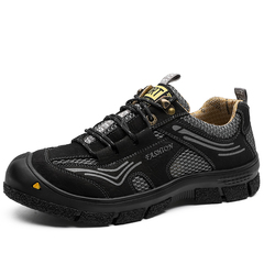 New Men Hiking Shoes Climbing Waterproof Outdoor Leather Height Increasing black 39