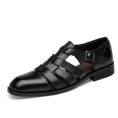 Summer Men's Good Leather Office Business Sandals Breathable Buckle Cool black 38