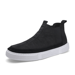 Men's Cool Chelsea Boots High Top Shoes Soft Leather Gentleman Handsome black 39