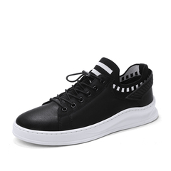 New Handsome Cool Leather High Quality Fashion Hip Hop Sock Sneaker Shoes black 39