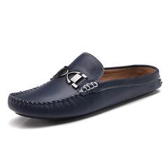 Horsebit Handsome Men Driving Shoes Backless Loafers Open Backs Leisure blue 39