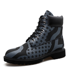 Men Riding Boots Stars Pattern Handsome Lace Up Shoes Vintage English Style black 39