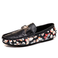 Summer Cool Slip On Loafer Soft Leather Men Driving Shoes Flowers Pattern black 39