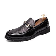 Handsome Men Shoes Formal Slip On Rhinestone Shiny Business Horsebit Bridal black 38 pu leather
