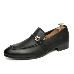 Luxury Handsome Men Leather Formal Shoes Loafer Business Mixed Color Horsebit black 38 pu leather