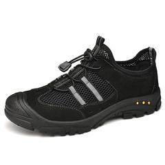 Trendy Fashion Outdoor Winter Men Hiking Shoes Genuine Leather Moutain Non-Slip black 38