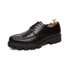 Crocodile Men Business Dress Formal Shoes Comfortable Cool Height Increasing black 38 pu leather
