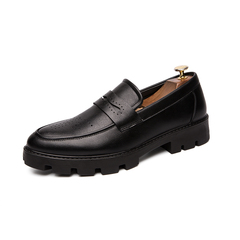 Gentleman Fashion Men Business Dress Formal Shoes Slip On Cool Height Increasing black 38 pu leather