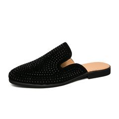 Men Dress Shoes Backless Slip On Formal Rhinestone Loafers Smoking Business black 39