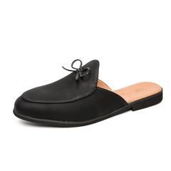 Men Dress Shoes Backless Slip On Formal Loafers Smoking Business Open Back black 39