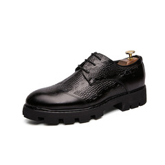Vintage Party Retro Luxury Men Dress Shoes Formal Crocodile Thick Outsole black 38 pu leather