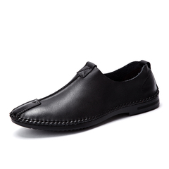 New Trendy Men Cow Leather Loafer Shoes Smart Formal Handmade Stitching black 39