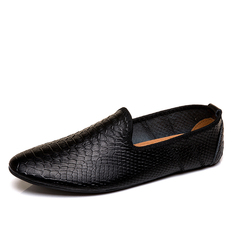 Lightweight Soft Leather Men Driving Shoes Casual Slip On Loafer Crocodile black 39
