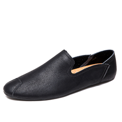 Lightweight Simple Soft Leather Men Driving Shoes Casual Slip On Loafer black 39