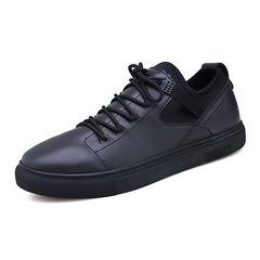 New Street Style Spring Season Causal Men Split Leather Sneaker Shoes Handsome black 39