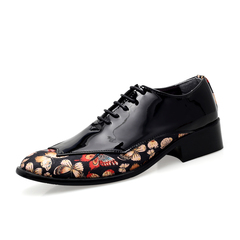 Men Dress Oxfords Shoes Party Formal Meeting Wedding Handsome Shiny Flowers black 38 patent leather